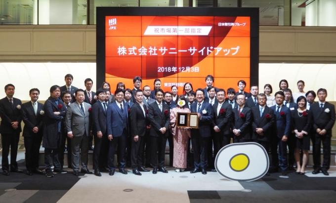 「たのしいさわぎ」は始まったばかり!サニーサイドアップは東京証券取引所市場第一部銘柄に指定されました!